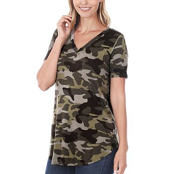 Casual Loose Fit V Neck Camo Print Short Sleeve Tunic Top