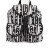 Tribal Print Canvas Backpack by Charlotte Russe - Black/White