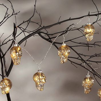 Mercury Glass LED Skull Garland