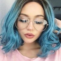 Short Teal Blue Ombre Bob Synthetic Lace Front Wig