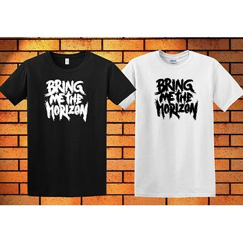 NEW BRING ME THE HORIZON BLACK MEN'S T SHIRT WHITE SHORT SLEEVE SHIRT GP1|T-Shirts