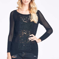 Black Knit Sweater With Lace Center
