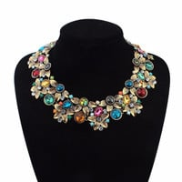 New fashion vintage jewelry Color rhinestone flower Chokers Necklaces for women big chunky statement necklaces