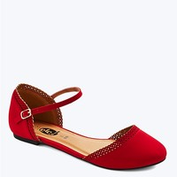 Solid Scalloped d'Orsay Flat