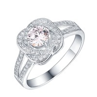 Solitaire Bridal Womens Ring Wedding Engagement 925 Silver Simulated Diamonds