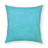 "Solid Tropical Blue 18""x18"" Artistic Throw Pillow"