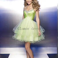 halter organza prom dresses    short homecoming dress    sexy ball gown dress for party    cocktail gowns with sequins