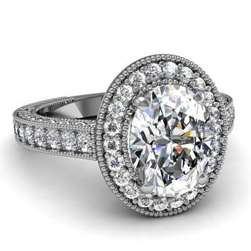 1.97ct F-SI1 Oval Diamond Engagement Ring 18kt White Gold JEWELFORME BLUE Halo