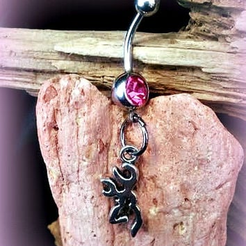 Pink Browning Symbol Belly Button Ring,Deer Gun Jewelry,Redneck,Country Girl Life,Hunting Girl,Body Piercing,Ready 2 Ship,Direct Checkout