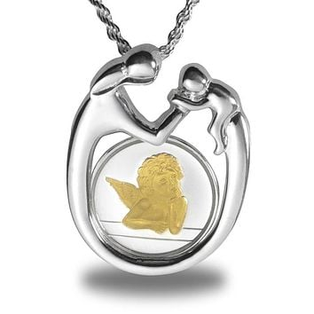 Sterling Silver Mother & Child Gilded Angel Necklace