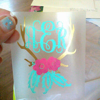Floral Antlers, Antler Decal, Decal for Yeti, Monogram Decal
