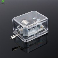 1Pc Clear Acrylic Windup Movement Music Box Music Movement Set 18 Tones 5 Songs