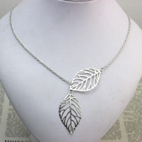 Double Leaf Necklace Fashion Jewelry