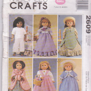 """Turn of the Century doll clothes pattern for Gotz/American Girl/18"""" doll party dress, hooded coat, underwear McCall's 2609 CUT and COMPLETE"""