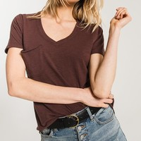 The Airy Slub Pocket Tee- Reddened Brown