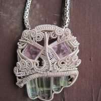"Heady wire wrap pendent ""Tourmaline Teeth"" Tourmaline fine silver ON SALE"