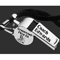 PE Coach Whistle   Phys Ed Teacher Gift   Personalized Whistle