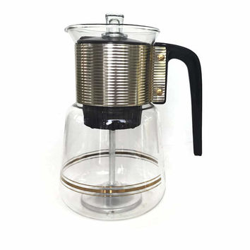 Mid Century Glass Coffee Pot for Brewing or Serving with Gold Bands and Goldtone Metal Unused Cory Percolator Coffee Pot Vintage Kitchen