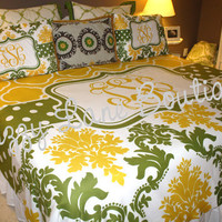 Custom Personalized Monogrammed King Duvet Cover SET with Shams