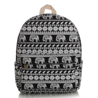 Cute Elephant Canvas Lightweight College Backpack