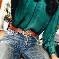 GUCCI Tide brand classic retro smooth buckle belt