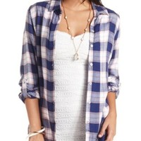 Long Sleeve Plaid Button-Up Top by Charlotte Russe - Navy Combo