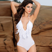 Newest Fringe Swimwear Women Deep V Swimsuit Tassel One Piece Swimwear High Quality Brand Monokini Summer Sexy Bathing Suit