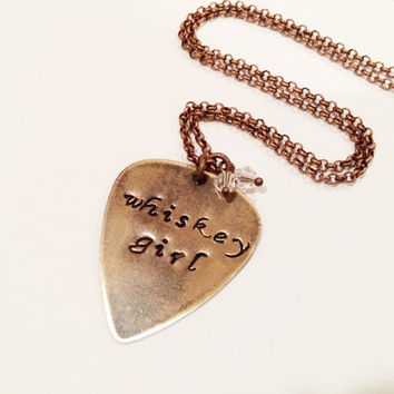 "Metal Guitar Pick ""Whiskey Girl"" Necklace, Hand Stamped Vintaj"