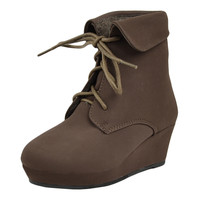Kids Ankle Boots Lace Up Suede Casual Wedge Shoes Brown SZ