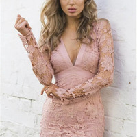 Lace Sexy Backless Hollow Out One Piece Dress [9863653647]