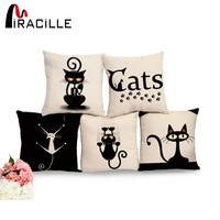 Gorgeous Square Cotton Linen Black Climbing Cat Throw Pillow For Sofas with No Fill