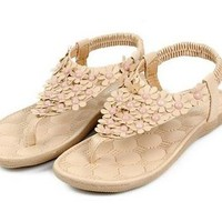 Encounter Retro Womens Pink Flower Beads T Strap Thong Flat Sandals (5.5)