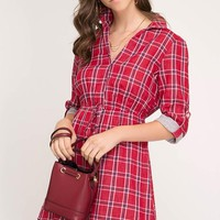 3/4 Sleeve Flannel Dress with Collar - Red