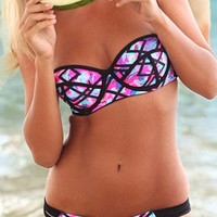 Cupshe Blooming Montage Neck Bikini sets