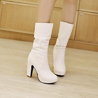 Roman Round Toe Chunky Middle Heels Half Boots