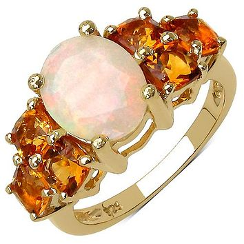 14K Yellow Gold Plated 3.30 Carat Genuine Ethiopian Opal and Citrine