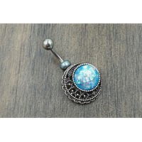 Blue Opal Moon Silver Belly Button Ring