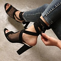 Strappy Ankle Chunky Heel Peep Toe Sandals