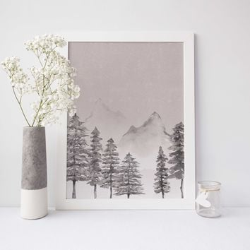 Rustic Modern Mountain + Forest Watercolor Wall Art Print or Canvas