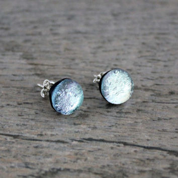 Sterling Silver Studs, Silver Fused Dichroic Glass Earrings, Dichroic Studs, Modern Bridal Earrings, Silver Studs, Dichroic Jewelry