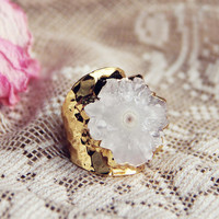 Solar Quartz Gold Ring