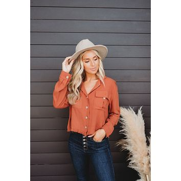 Country Sunset Button Down (Rust)