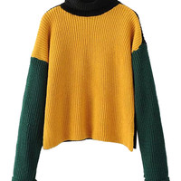 Fire Yellow High Neck Dropped Shoulder Side Split Knit Sweater