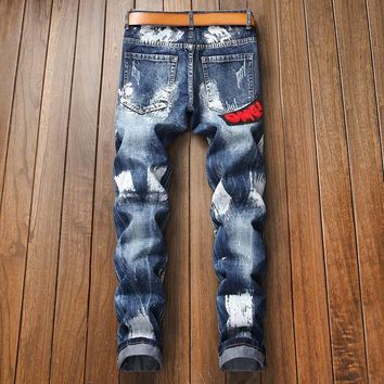 Slim Winter Alphabet Embroidery Men Fashion Pants Jeans [3444982087773]