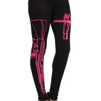 Machine Gun Leggings - Fuchsia