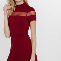 Mock Neck Mesh Inset A-line Dress from EXPRESS