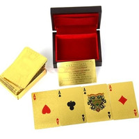 Gold Poker 1 pcs Decks USD Dollar Design Gold Foil Playing Cards With Wooden Box No-pollution TK1155|26601 = 1745563524