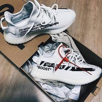 ADIDAS Off White Yeezy Boost 350 V2 Women Men Fashion Sports Sneakers Shoes