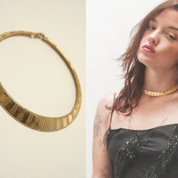 Gold Cleopatra Collar Necklace | Classy Formal Gold Textured Choker | Retro Gypsy Greek Goddess Ethnic Egyptian Mid-Century Retro Jewelry