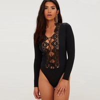 Sexy Lace V-Neck Long-Sleeved Solid Color Stitching Jumpsuit